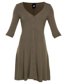 Catwalk 88 3/4 Day Dress with Button Detail Olive