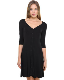 Catwalk 88 3/4 Day Dress with Button Detail Black