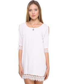Catwalk 88 Open Shoulder Dress With Lace Detail White