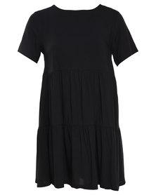 Catwalk 88 Deep V Back Flare Dress Black