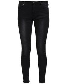 Catwalk 88 Jonie Mid Rise Super Skinny Jeans Black