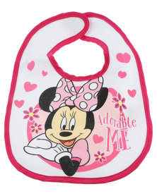 Character Brands Minnie Mouse Jersey Bib White and Pink