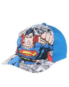 Character Brands Super Man Peak Cap Blue