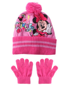 Character Brands Minnie Mouse Beanie And Gloves Set Pink