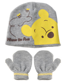 Character Brands Winnie The Pooh PVC Patch Beanie And Mittens Set Yellow