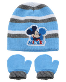 Character Brands Mickey Mouse Beanie and Mitten Set Blue