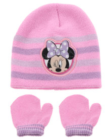 Character Brands Minnie Mouse Beanie and Mitten Set Pink