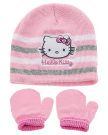 Character Brands Hello Kitty Beanie and Mitten Set Pink and White