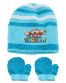 Character Brands Tigger Beanie and Mitten Set Blue