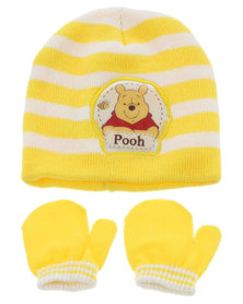 Character Brands Winnie the Pooh Beanie and Mitten Set Yellow