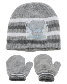 Character Brands Tiny Tatty Teddy Beanie and Mitten Set Grey