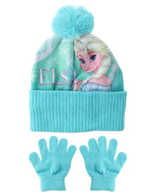Character Brands Elsa Beanie And Gloves Set Blue