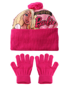 Character Brands Barbie Beanie and Gloves Set Pink