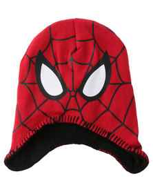 Character Brands Spiderman Trapper Beanie Red