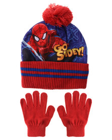Character Brands Spiderman Beanie And Gloves Set Red/Blue