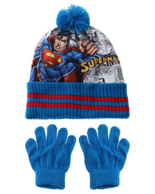 Character Brands Superman Beanie and Gloves Set Blue