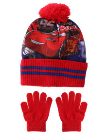 Character Brands Cars Beanies And Gloves Set Red/Blue
