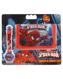 Character Brands Spider Man Wallet and Watch Set Red