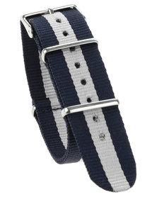 Cheapo Navy White Stripe Nylon Watch Strap White
