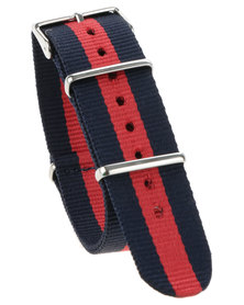 Cheapo Navy Red Stripe Nylon Watch Strap White