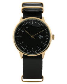 Cheapo Harold Gold Black Dial Black Leather Strap Watch Black