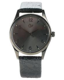 Cheapo Roger Metal Black Dial Croc Strap Watch Black