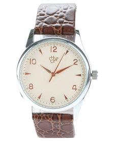 Cheapo Roger Croc Strap Watch Brown
