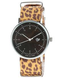 Cheapo Harold Leopard Watch Brown