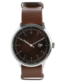 Cheapo Harold Black Face Brown Leather Strap Watch