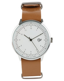Cheapo Harold White Face Brown Leather Strap Watch