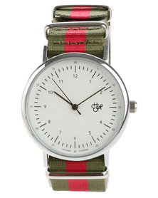 Cheapo Harold White Face Green and Red Stripe Canvas Strap Watch