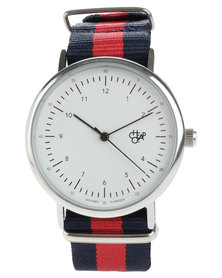 Cheapo Harold White Face Navy and Red Stripe Canvas Strap Watch