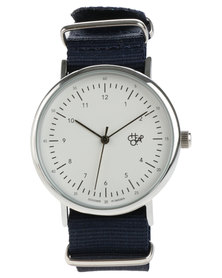 Cheapo Harold White Face Navy Canvas Strap Watch
