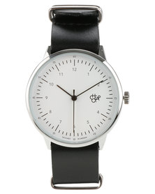 Harold White Face Black Leather Strap Watch