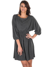 Chica-Loca Scoop Neck Dress Charcoal