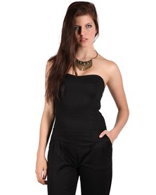 Chica-Loca Fitted Playsuit Black