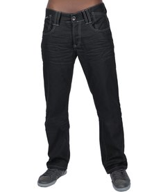 Cipo & Baxx Length 34 Straight Leg Jeans Black