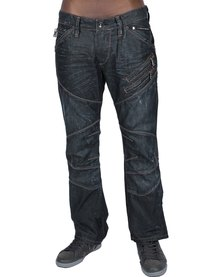 Cipo & Baxx Length 34 Straight Leg Jeans Black Blue