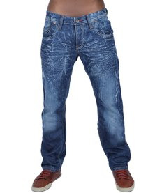 Cipo & Baxx Length 34 Straight Leg Jeans Creased Stonewash Blue