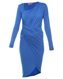City Goddess Asymmetric Neckline Dress Blue