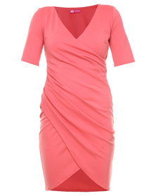 City Goddess Gathered Wrap Dress Coral