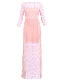 City Goddess London Ditsy Spot Flock Maxi Dress in The Style of Ellie Goulding Nude