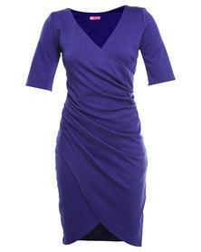 City Goddess Gathered Wrap Over Dress Purple