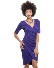 City Goddess Gathered Wrap Over Dress Purple