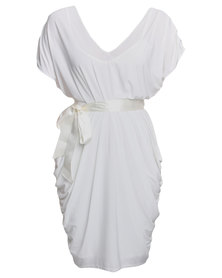 City Goddess London Draped Midi Dress with Bow Neutral