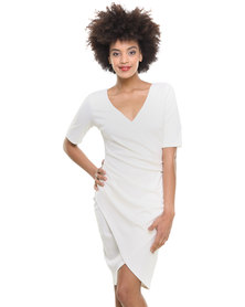 City Goddess Gathered Wrap Over Dress Cream