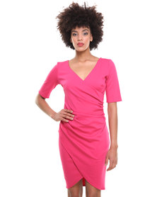 City Goddess Gathered Wrap Over Dress Cerise