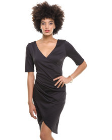 City Goddess Gathered Wrap Over Dress Black