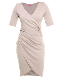 City Goddess Gathered Wrap Over Dress Stone