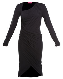 City Goddess Asymmetric Neckline Ruched Long Sleeve Jersey Dress Black
